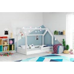 Baltas namelis - viengulė lovytė 160x80 cm