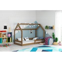 Ruda lova-namelis su čiužiniu 160x80 cm