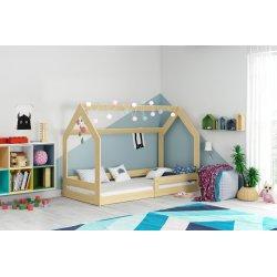 Medžio spalvos lovytė - namelis su čiužiniu 160x80 cm
