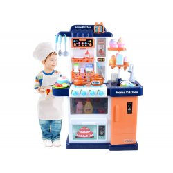 Mėlynų atspalvių virtuvėlė su įvairiais priedais