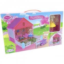Rožinis lėlių namelis su baldais ir lėlyte