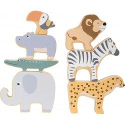 Medinės safario gyvūnų figūrėlės 7 vnt