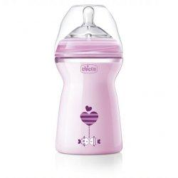 Rožinis Chicco buteliukas maitinimui 6+ / 330 ml