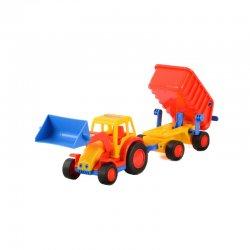 Traktorius su priekaba ir ekskavatoriaus priedu