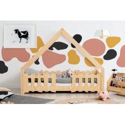 Medinė lova - namelis su tvorele