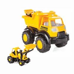 Žaislinis sunkvežimio ir ekskavatoriaus rinkinys