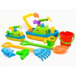 Žvejybinių laivų ir smėlio žaislų rinkinys