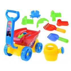 Plastikinis vežimėlio ir smėlio žaislų rinkinys