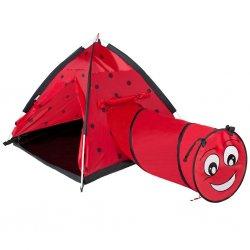 """Raudona palapinė su tuneliu - """"Kirmėliukas"""""""
