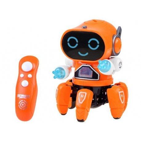 RC šviečiantis ir šokantis robotukas (oranžinis)
