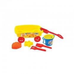 Traukiamas vežimėlis su smėlio žaislais