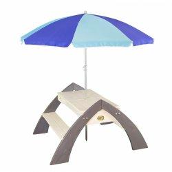 Medinis iškylų staliukas su skėčiu