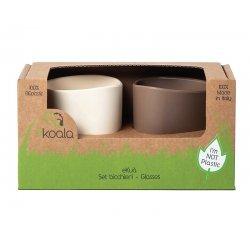 Vaikiški bioplastiko puodeliai eKoala 2 vnt. (balta/ruda)