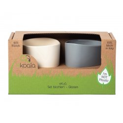 eKoala vaikiški puodeliai iš bioplastiko 2 vnt. (balta/pilka)