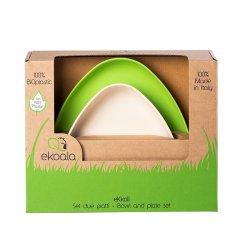 eKoala bioplastiko vaikiškų indų rinkinys 2 vnt. (balta/žalia)