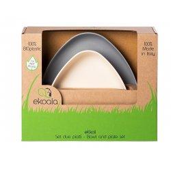 eKoala ekologiškų bioplastiko indų komplektas 2 vnt. (balta/pilka)