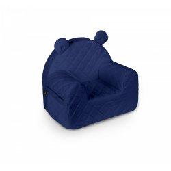 Tamsiai mėlynas aksominis foteliukas su ausytėmis