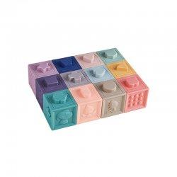 Švelnių spalvų sensorinės kaladėlės (12 vnt.)