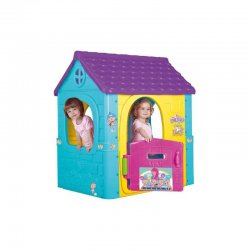 Ryškiaspalvis vaikiškas sodo žaidimų namelis