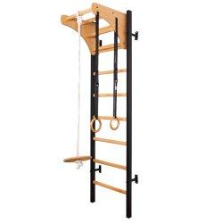 Metalo/medžio konstrukcijos gimnastikos sienelė su aksesuarais