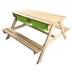 Medinis iškylos stalas su indais smėliui ir vandeniui