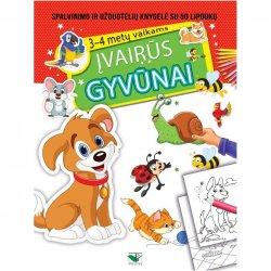 """Spalvinimo ir užduočių knygelė su lipdukais """"Įvairūs gyvūnai"""""""